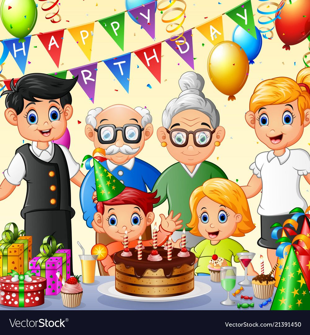 Happy Family Celebrating Birthday Vector Image On Vectorstock In 2020 Art Drawings For Kids Birthday Illustration Drawing Pictures For Kids