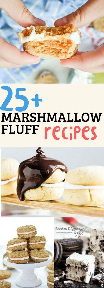 From cookies to bars to fudge to pancakes, here are over 25 recipe ideas featuring Marshmallow Fluff. Kids of all ages will love these sweet recipes! Use homemade marshmallow fluff or buy it, regardless these recipes will be a hit! via @huttonjanel #marshmallowfluffrecipes