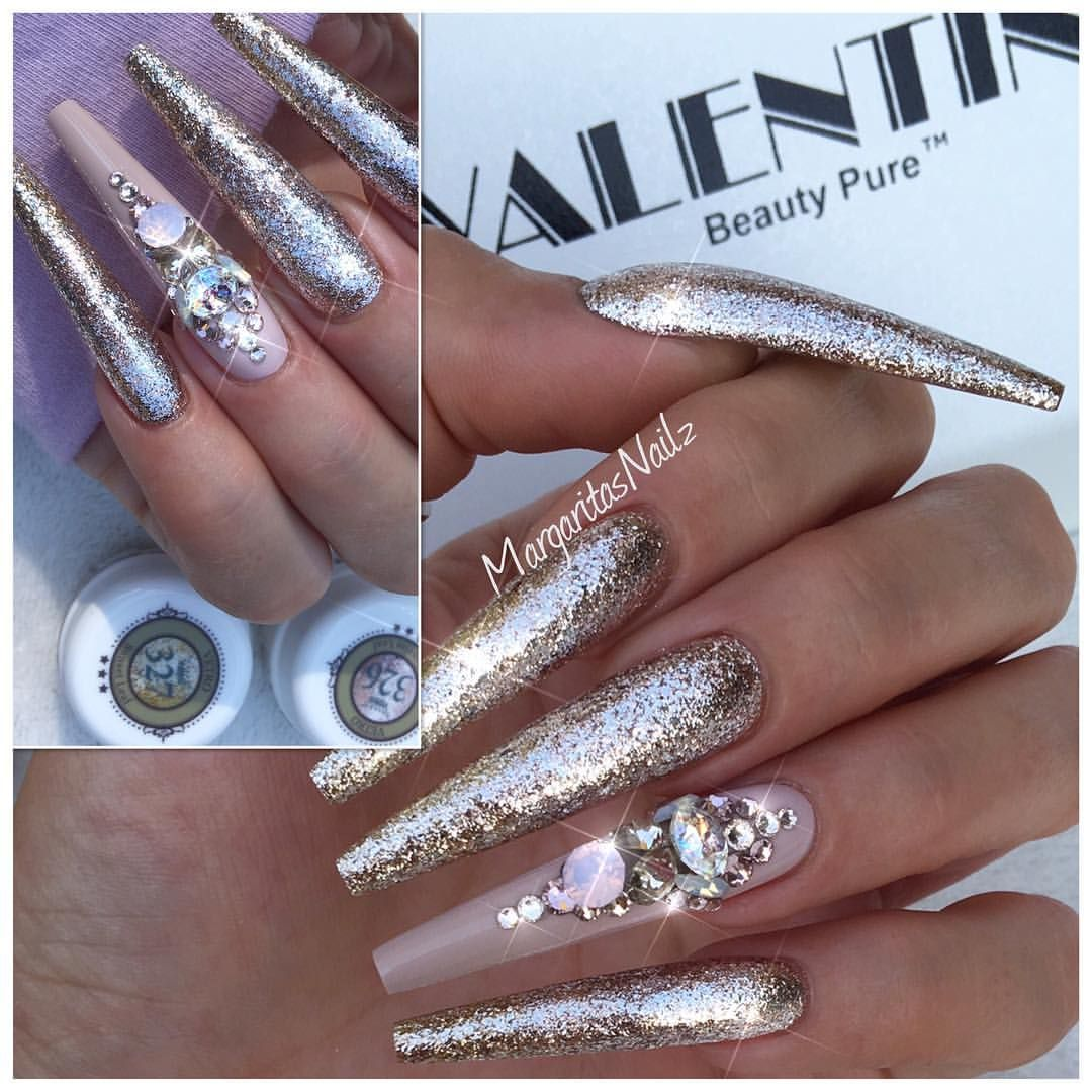 Rose gold coffin nails Swarovski nails art design Extra long coffin ...