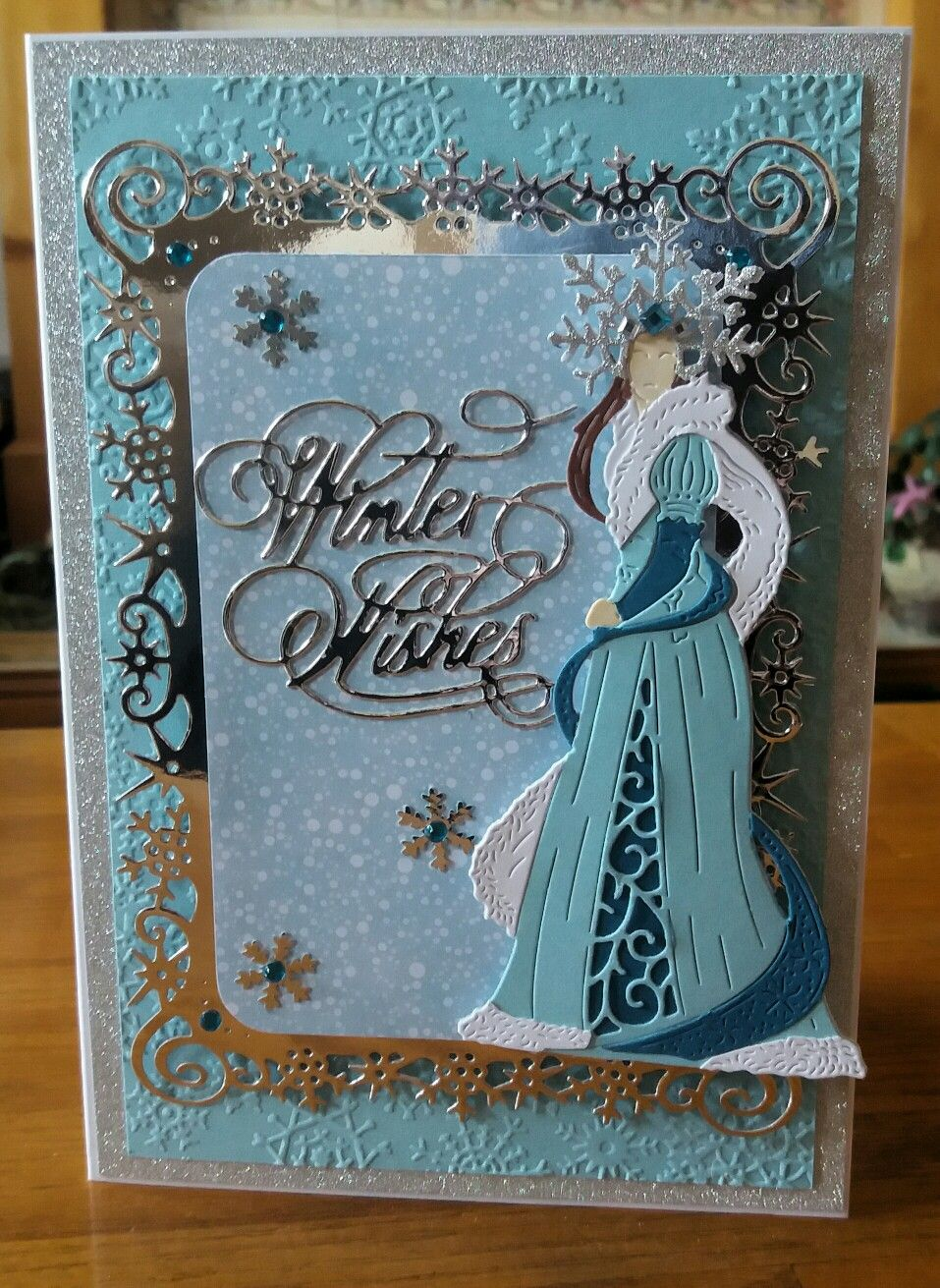 A5 Card For The Silver Frame Used Spellbinders Snowflake View Die The Lady Is From Tattered Lace Fantasy Christmas Range Cards Handmade Cards Paper Crafts