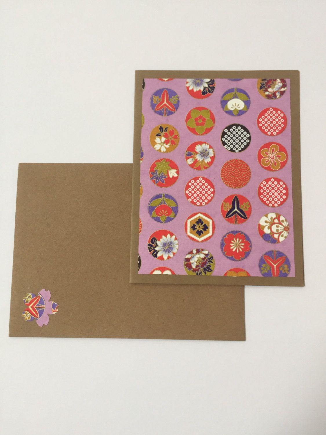 Colored card stock and envelopes - Purple Circle Floral Note Cards Craft Card Stock Paper Craft Envelopes Japanese Paper Blank Cards Handmade Cards Thank You Cards