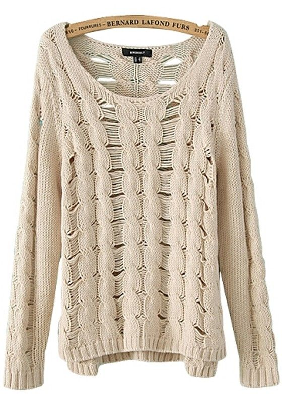 Beige Plain Hollow-out Synthetic Fiber Sweater