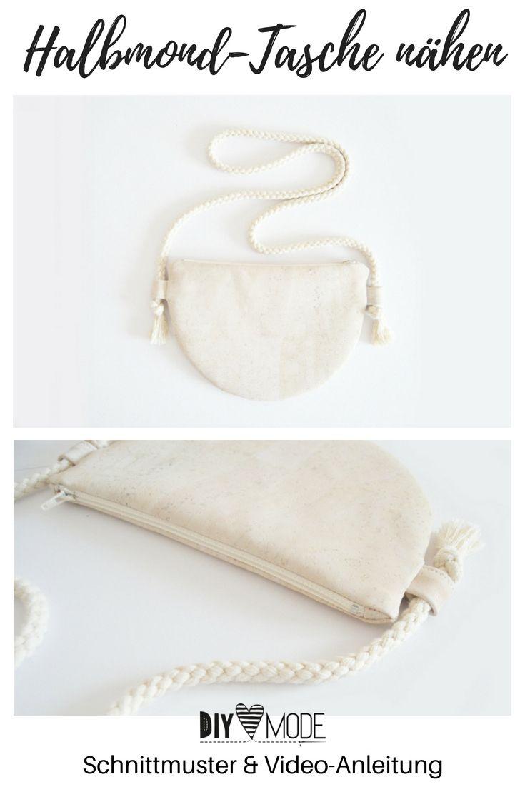 Halbmond-Tasche nähen mit Schnittmuster / Handtasche aus Kork  |  DIY MODE – Bolsa de moda