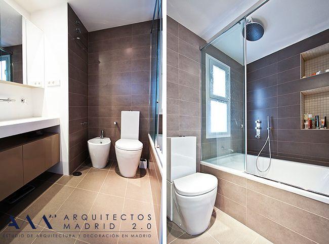 Ba o estilo moderno color beige marron blanco - Interiorismo banos modernos ...