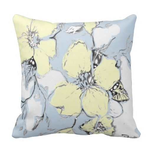 Floral Black White Yellow Throw Pillow