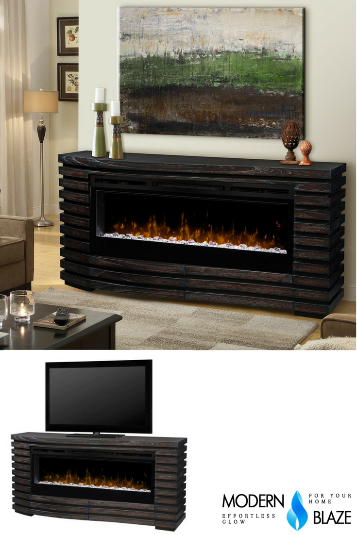 With Its Curved Organic Lines Elliot Electric Fireplace With