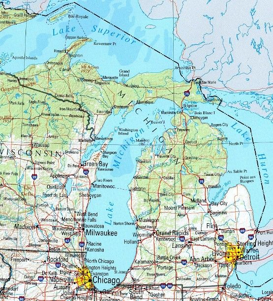 The State Of Michigan Map.Reference Map Of Michigan State Mi Geography Map Craft Therapy
