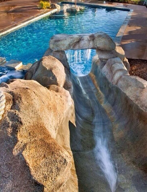 Awesome Rock Waterslide with Waterfall for some slip and slide fun