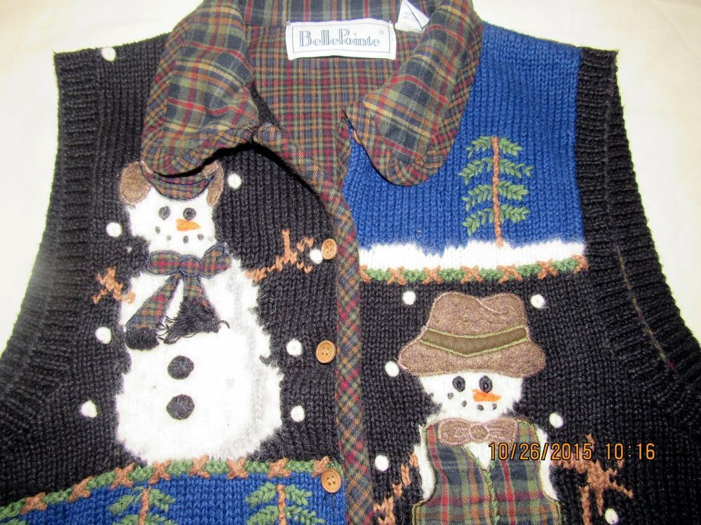 Christmas Ugly Sweater Vest Giant Fuzzy Snowmen Large Snowing Button