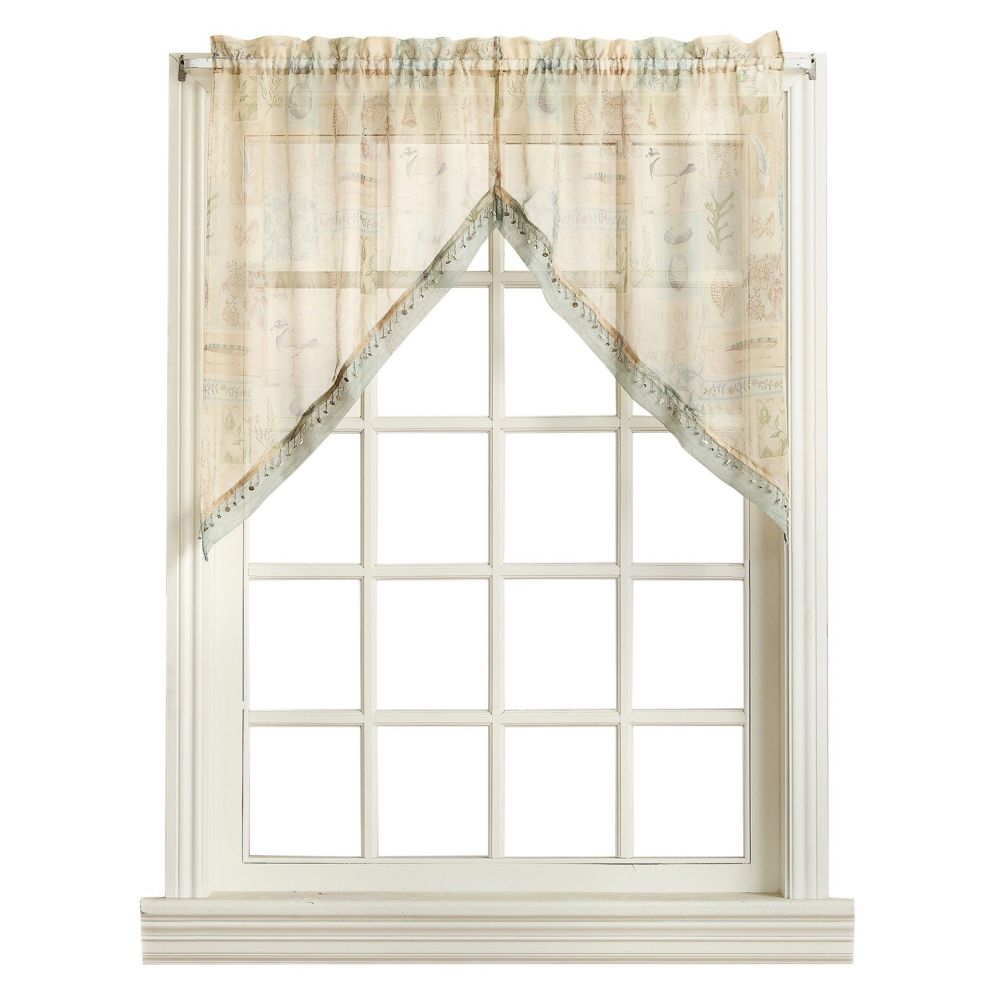 Seascape kitchen curtain swag pair offwhite ocean
