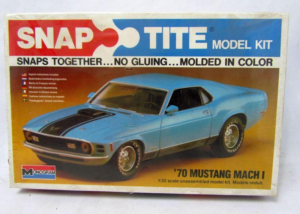 Monogram 1 32 Scale 1970 70 Ford Mustang Mach I 1 Snaptite Nib New Sealed 1030 Monogram Plastic Model Kits Model Kit Model Hobbies