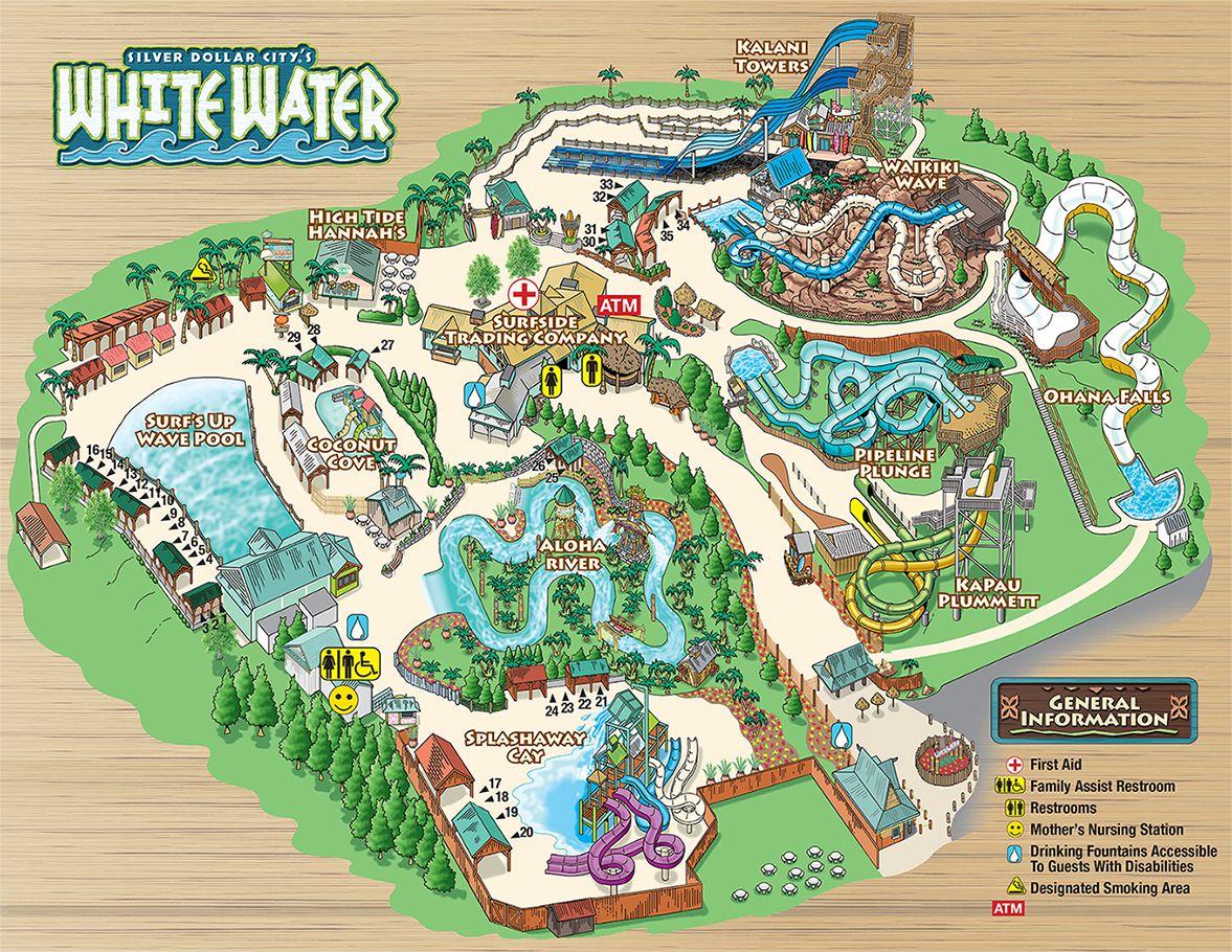 Silver Dollar City S Whitewater Park Theme Park Map Branson Vacation Branson Missouri