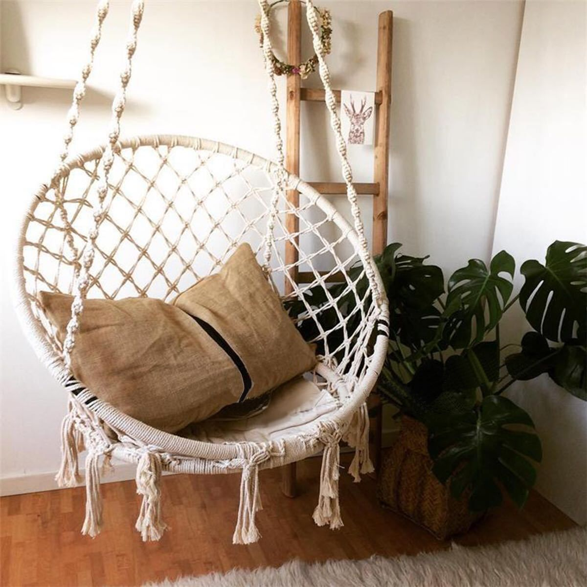 Macrame swing net chair can be used as a light cradle and
