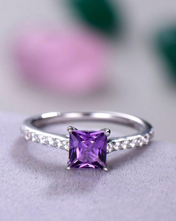 f870f5535 Purple Amethyst Engagement Ring Square Princess Cut 14k White Gold Sterling  Silver Half Eternity CZ