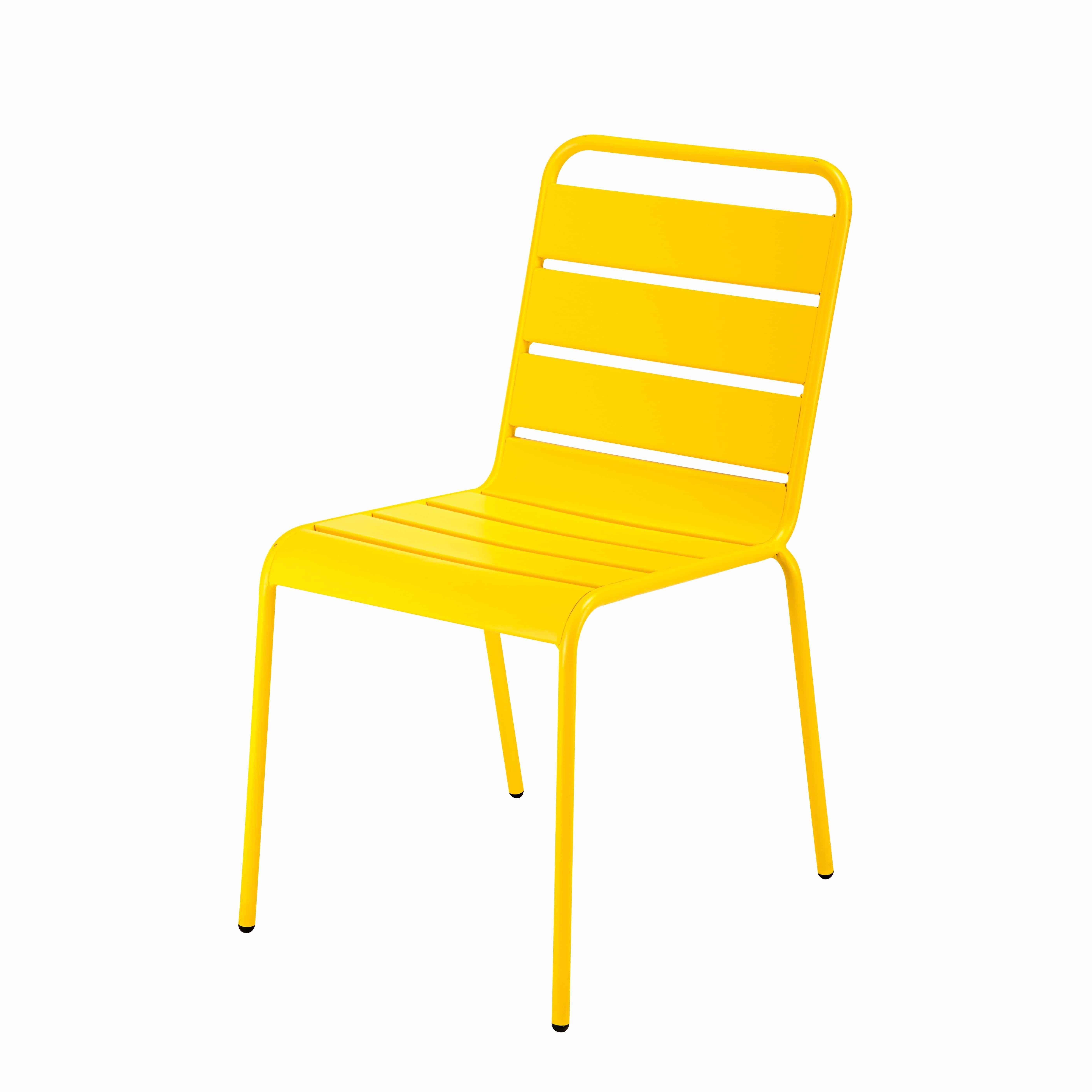 Gartenstuhl metall  Stapelbarer Gartenstuhl aus gelbem Metall Jetzt bestellen unter ...