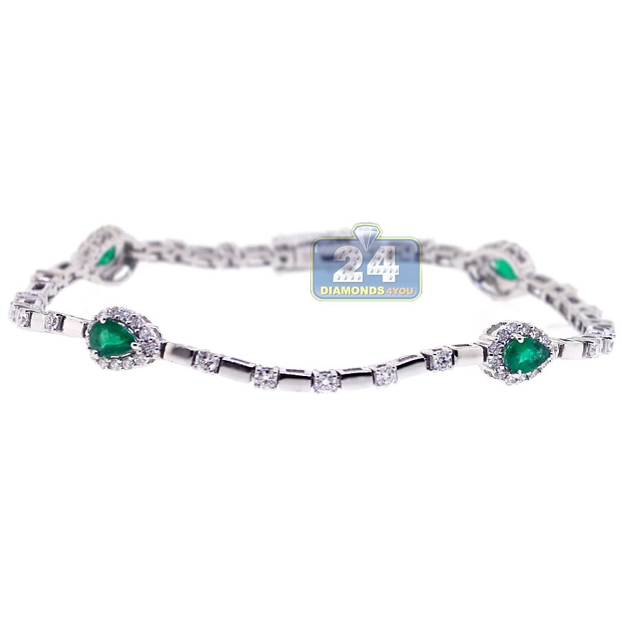 K white gold ct pear emerald diamond womens bracelet womens