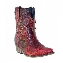 Dingo Ladies Shorty Cowboy Boots Adobe Rose Red Leather DI695