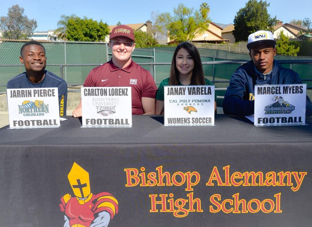 Alemany High School On Instagram Nationalsigningday Our Four Signees Jarrin Pierce Northern Colorado Ca Cal Poly Pomona High School National Signing Day