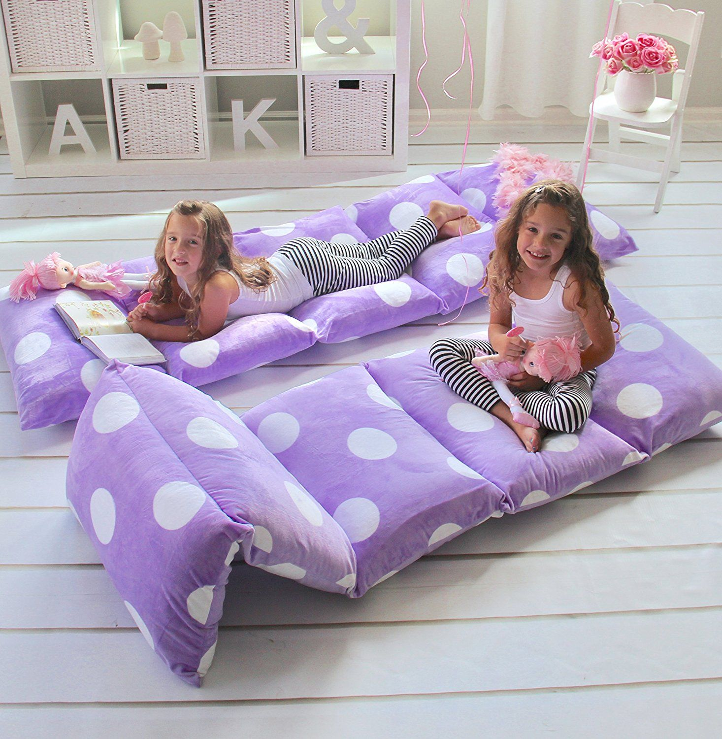 Girls floor lounger seats cover and pillow cover made of