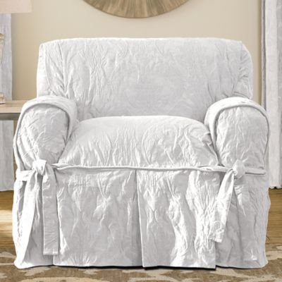 Sure Fit Matelasse Damask One Piece Chair Slipcover In White