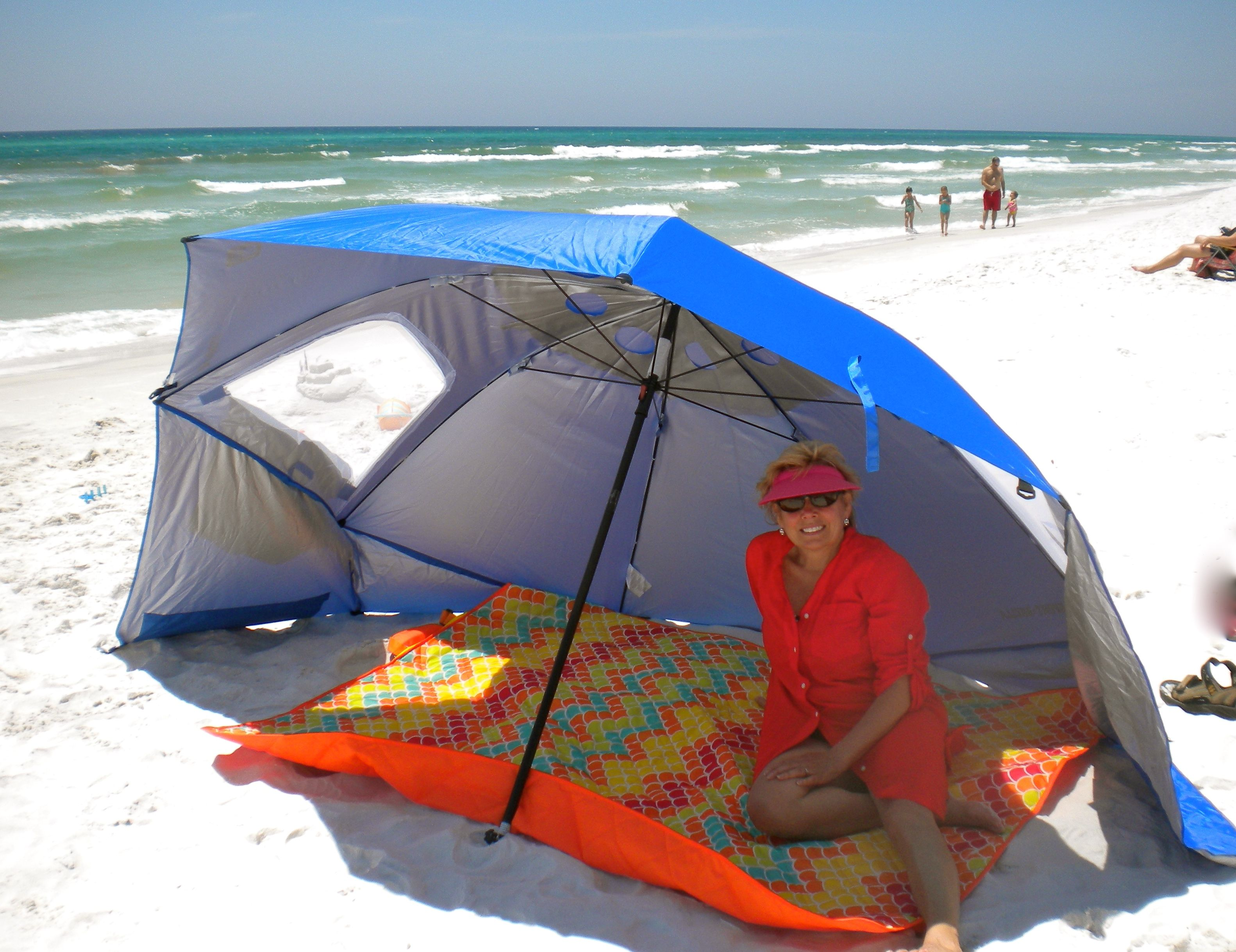 This Beach Umbrella Tent Can Be Used Upright Like An Or Tilted And Ancd In The Sand To Protect From Wind Sun
