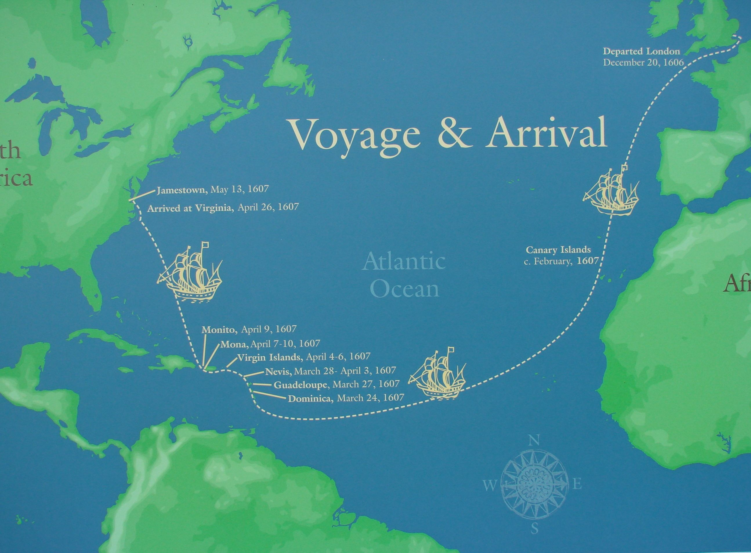 map showing the dates and voyages of the English settlers | Virginia ...