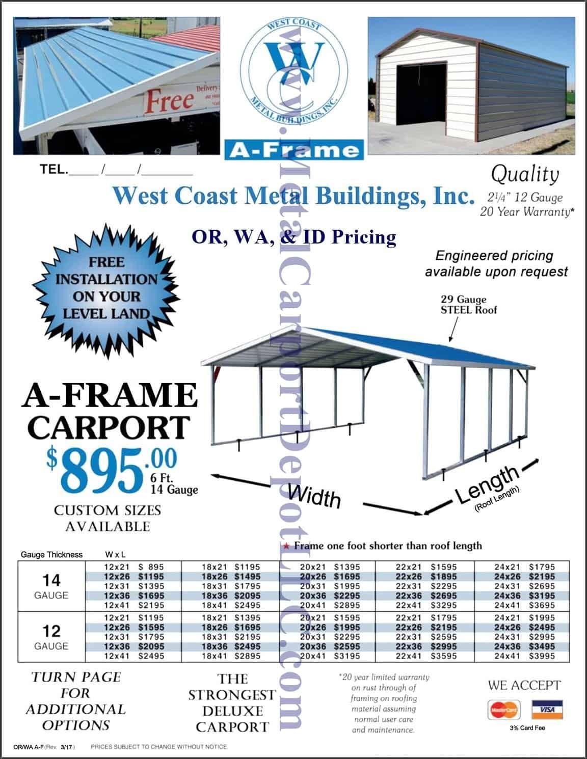 Metal Carport Buildings Ca Nv Or Pricing Metal Carports Carport Metal Buildings
