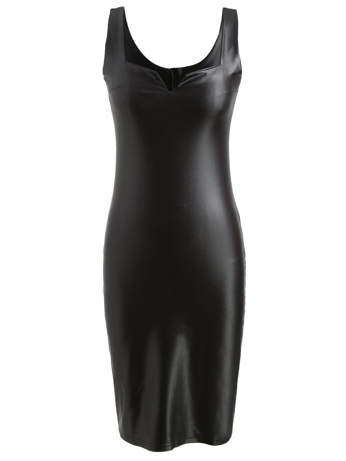 Faux Leather Bodycon Midi Dress Midi Dress Bodycon Bodycon Dress Casual Dresses For Teens [ 1596 x 1200 Pixel ]