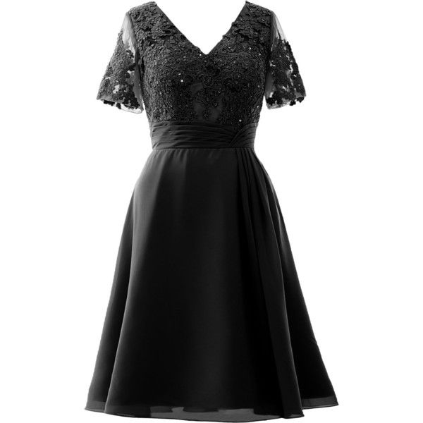 MACloth Elegant V Neck Mother Of The Bride Dress Half Sleeve Short...  ($109) ❤ liked on Polyvore featuring dresses, gowns, v neck short dress,  mother of ...