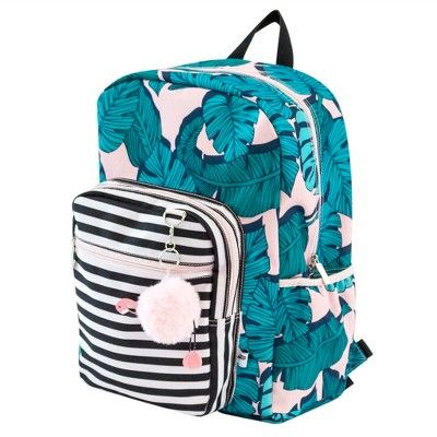 4be01f6b96d3 Yoobi Standard Backpack 2.0 with Pom Pom Keychain - Flamingo Palm ...