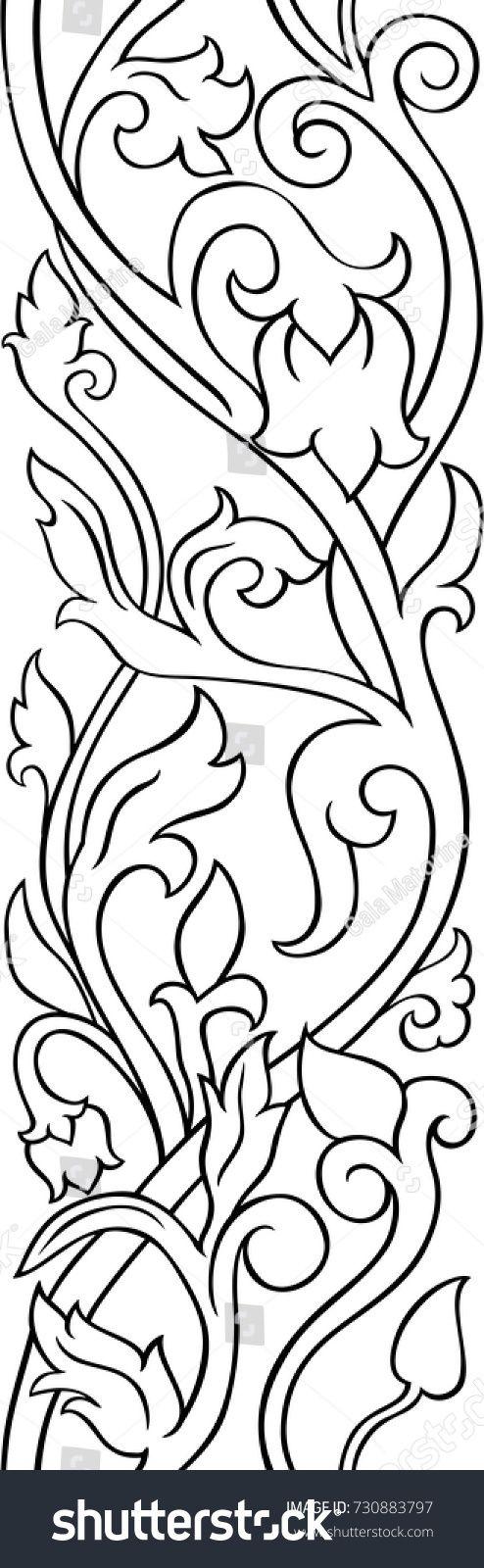Black And White Floral Pattern Filigree Ornament Stylized Template For Wallpaper Textile Oboi S Cvetochnym Uzorom Meditativnye Uzory Hudozhestvennaya Rospis