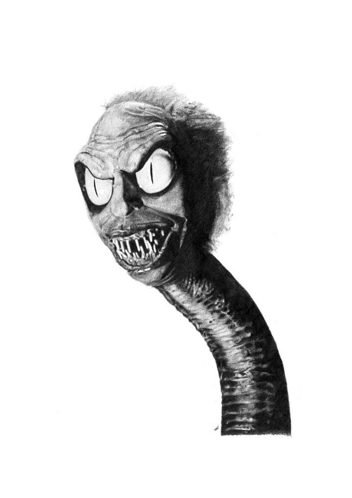 BEETLEJUICE (Snake Head) pencil drawing