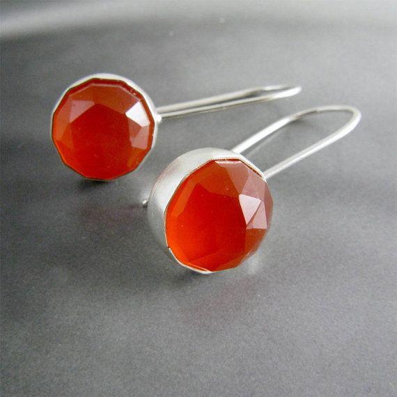Carnelian Earrings in Sterling Silver by catherinechandler on Etsy, $145.00
