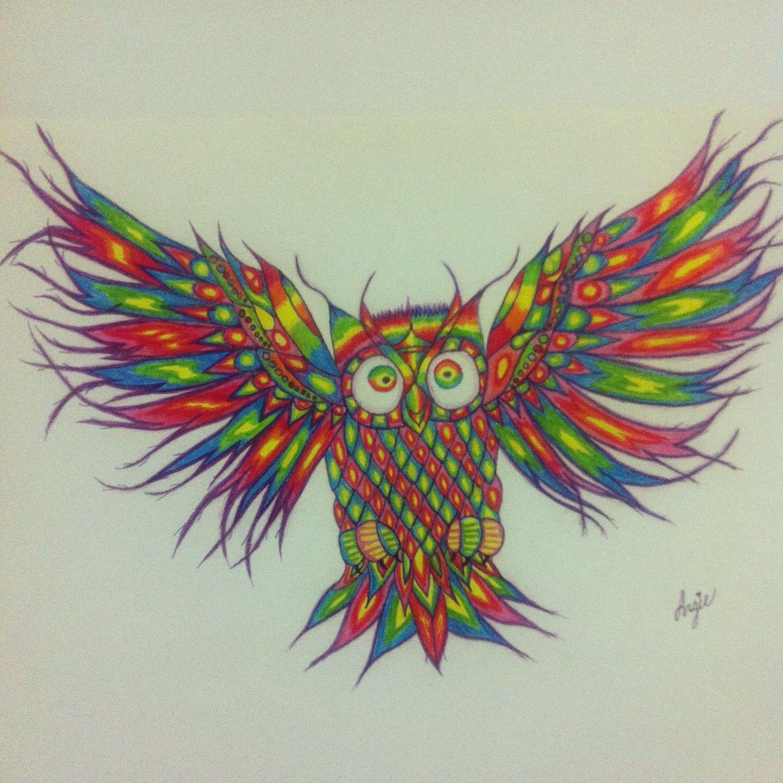 Colorful Owl Drawing. Drawings Art