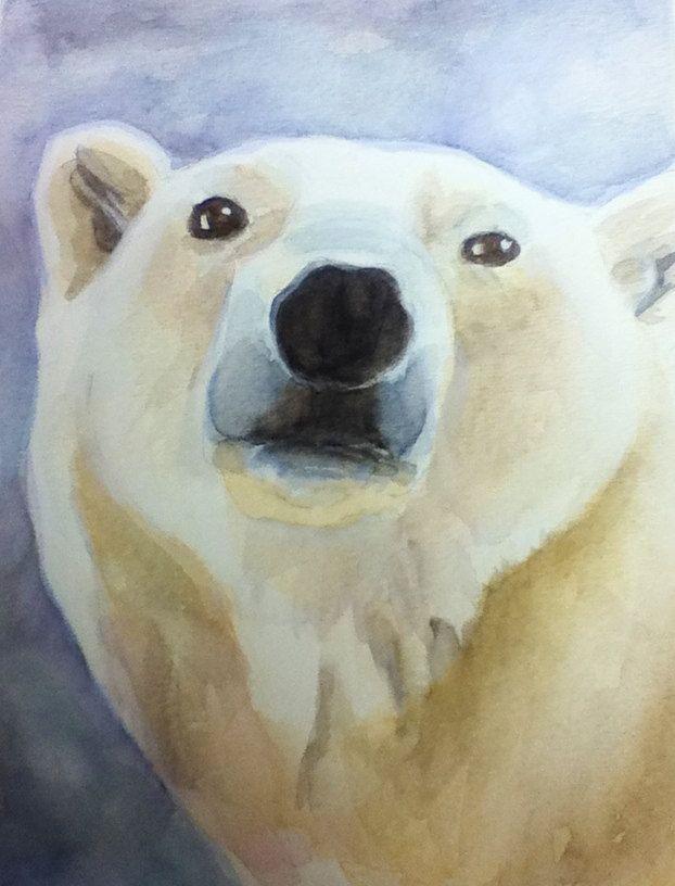 Polar Bear Watercolor Painting Print by artisticattrocities