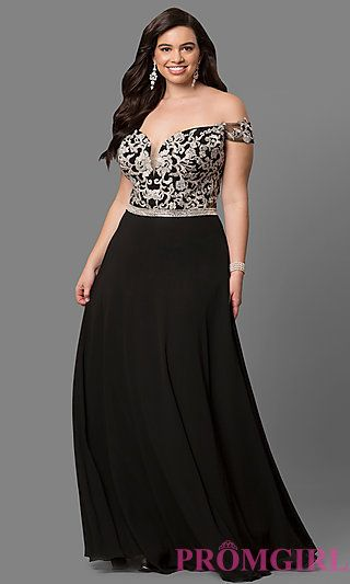 13c22005326 Plus-Size Off-Shoulder Long Prom Dress with Applique in 2019 ...