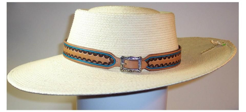 Cowboy hatband handtooled leather  197dc0d3bdc9