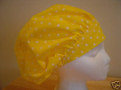 $9.99 This bright YELLOW scrub hat has WHITE dots all over it!