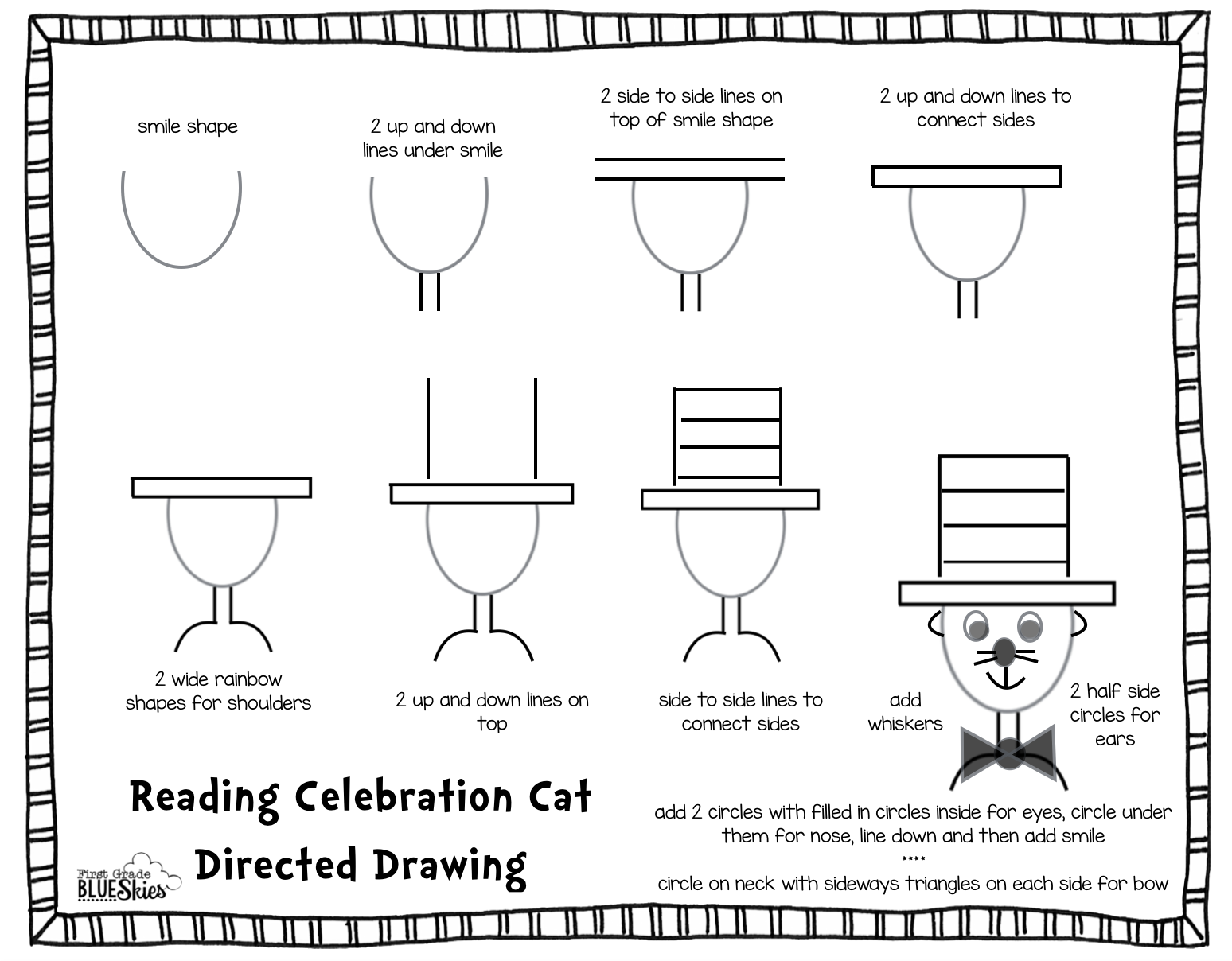 First Grade Blue Skies Directed Drawing Tutorial For