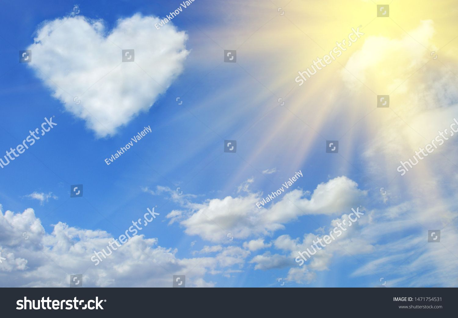 Heart Shaped Cloud In The Blue Sky And Sun Ad Sponsored Cloud Shaped Heart Sun Clouds Sun Stock Blue Sky