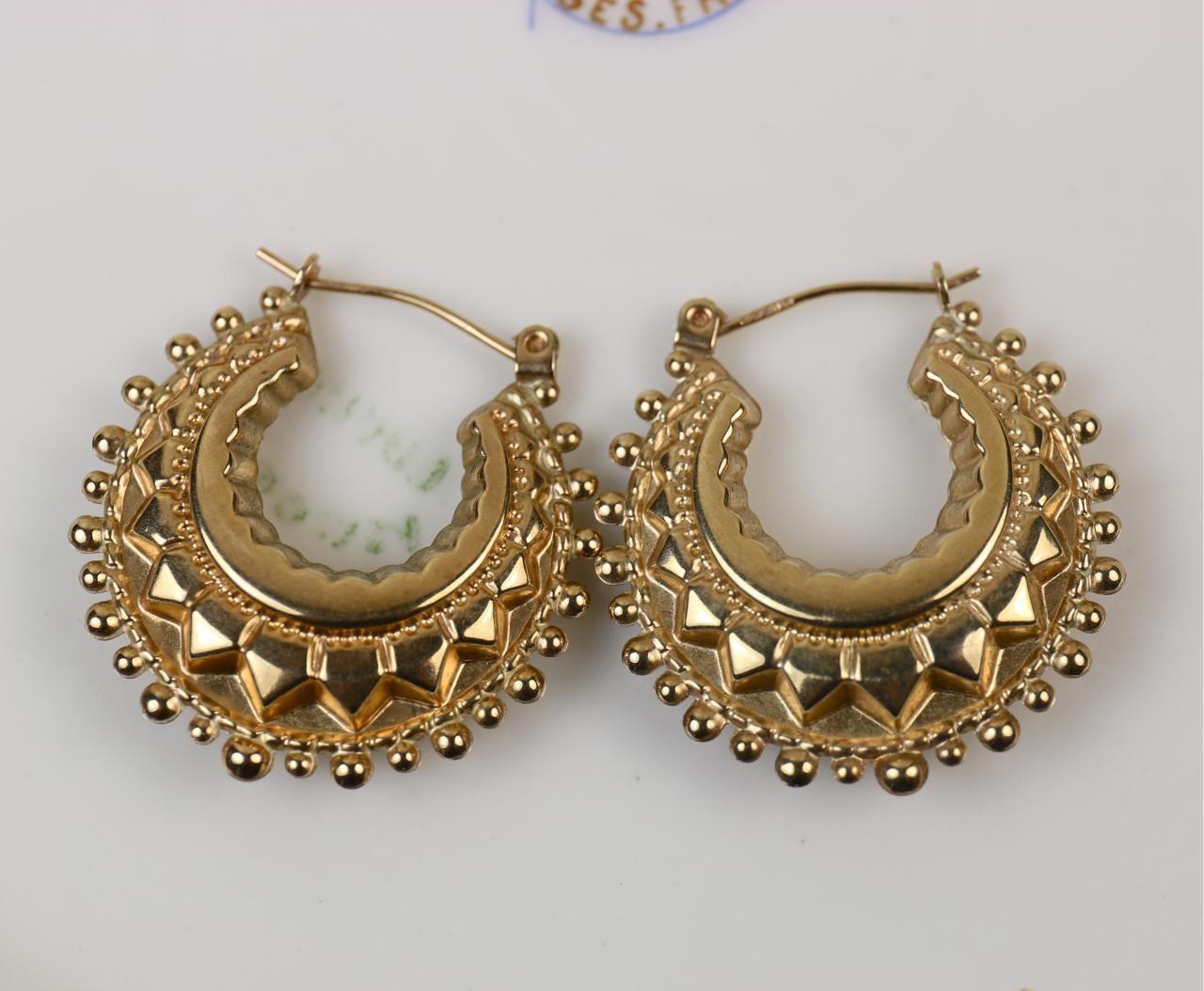 f125d4c21ea14 Antique victorian 1897 birmingham 9 carat gold earrings – Artofit