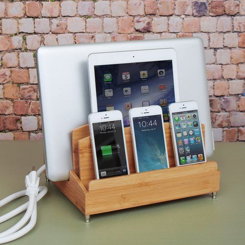 Bamboo Multi Device Charging Station And Cord Organizer For Smartphones Tablets And Laptops Universal Com Charging Station Diy Phone Case Power Strip Storage
