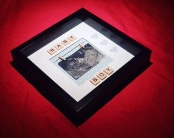 Baby photo frame baby shower gift by FoxesBoxesFrames on Etsy