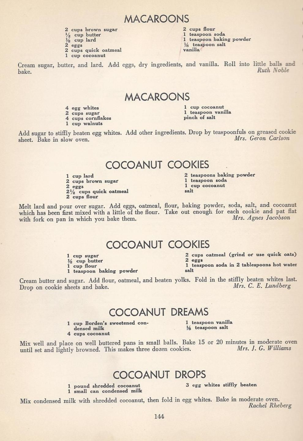 Vintage Cookies7 Vintage Recipes Cookie Recipes Old Recipes