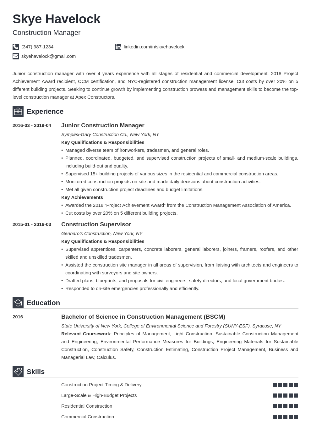 Construction Manager Resume Sample [+Objective & Skills]