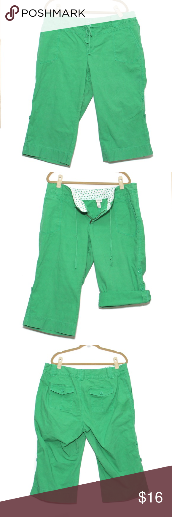 Venezia - Crop pants roll-tab - size 20 Green roll tab style