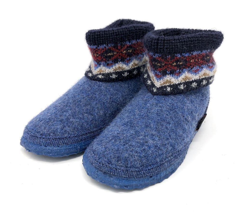 6cc0aceb0ed5b Giesswein Kids SLIPPER BOOTS Size 29   11.5 US Boiled Wool Blue Unisex Blue  Cozy  Giesswein  Slippers