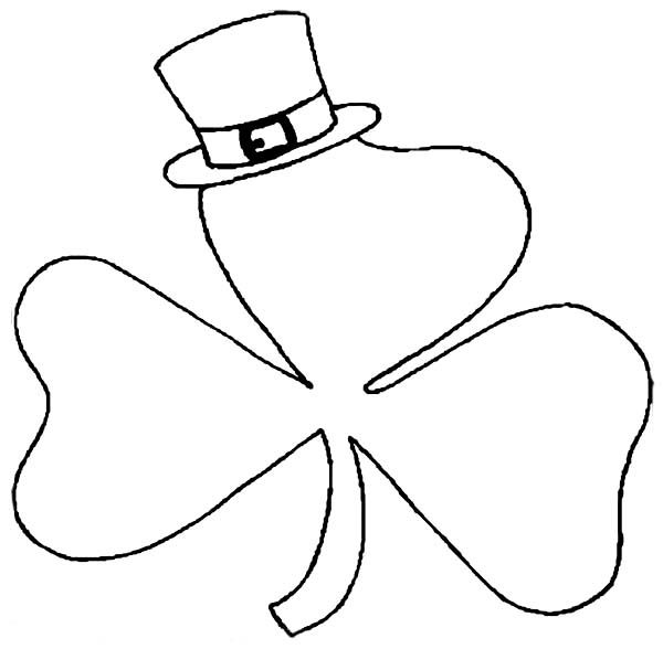 A Shamrock Wearing Hat on St Patricks Day Coloring Page Dessin - shamrock color pages