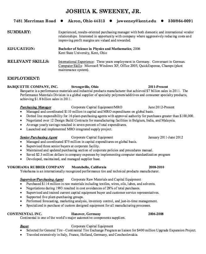Purchasing Manager Resume Sample Resumesdesign Purchase Manager Manager Resume Resume