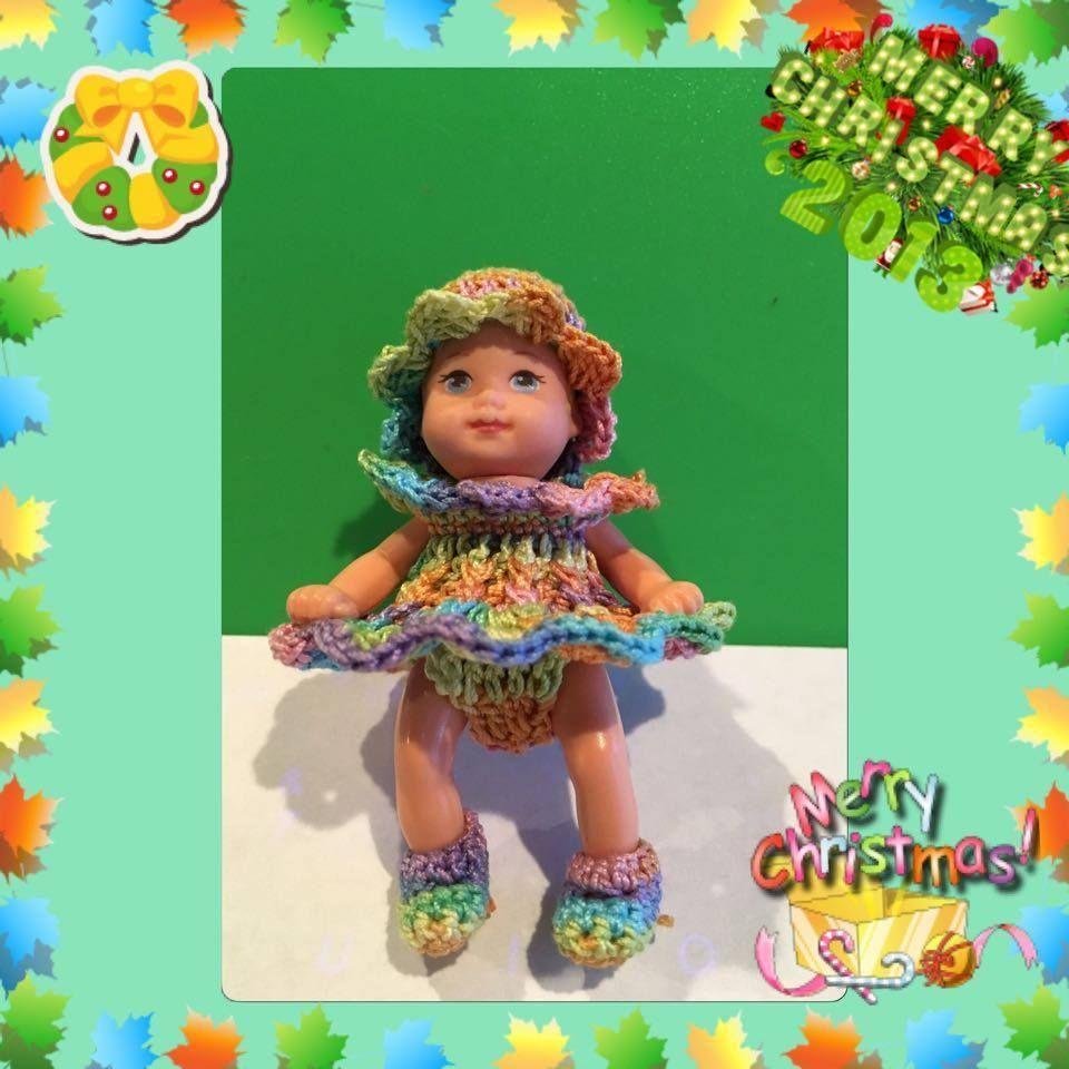 4pcs underware dress shoe hat handmade crochet for barbie baby krissy doll toys #Clothing #dollunderware